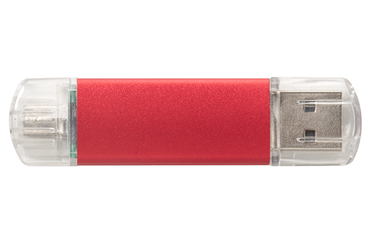 Dual OTG promo flash drive metallic red
