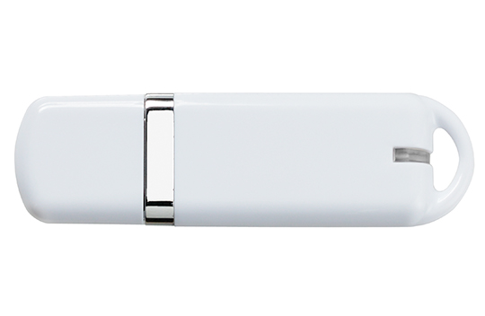 Custom printed loaded usb flash drive sleek white