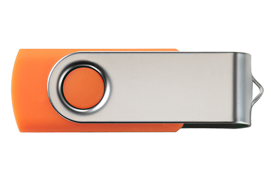 Custom printed data secure usb flash drive swivel orange
