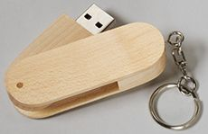Custom printed loaded USB flash drive tan wood swivel